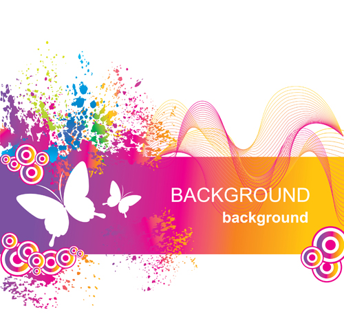Set of Vector Colorful Butterflies background 03 | Free ...