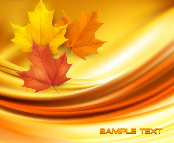 Autumn of Maple leaf vector background set 04