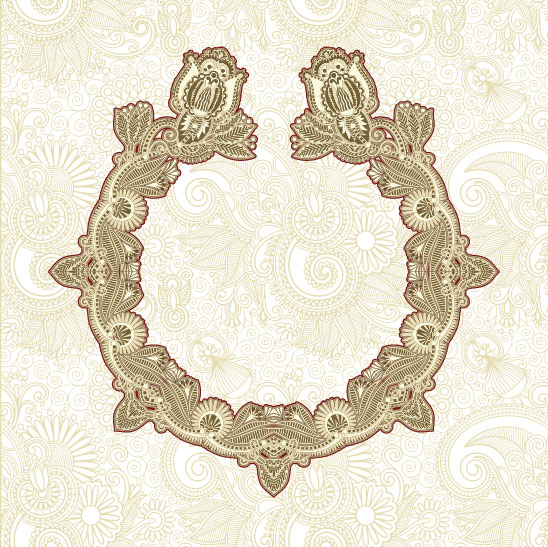 Retro lace Decoration Frames vector 03