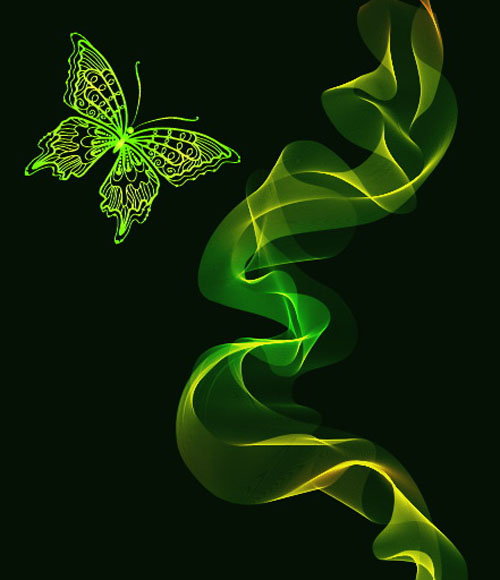 Black Background with Bright butterfly vector graphic 03