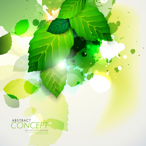 Green leaves concept background elements vector 05