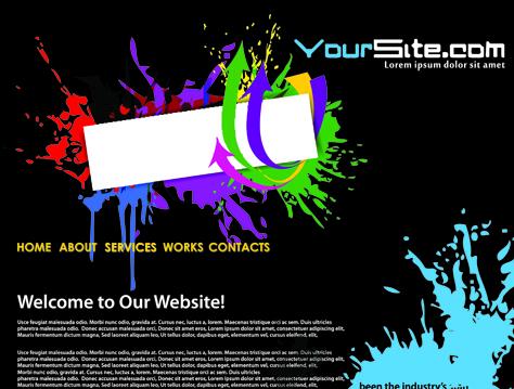 Abstract splash website background vector 02