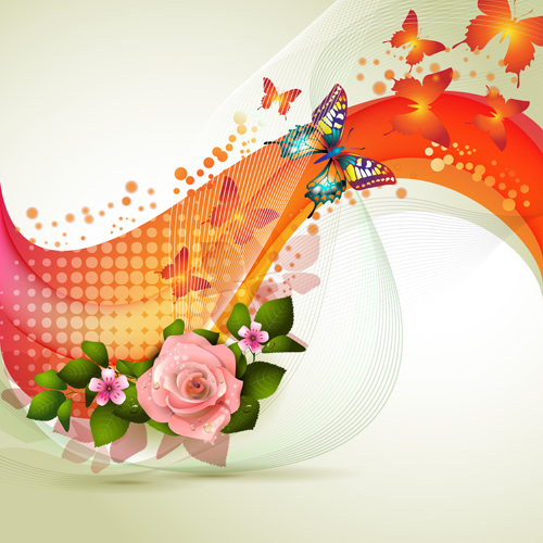 Fresh flowers and Butterfly with background vector 05