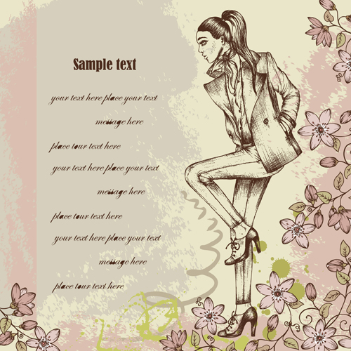 Hand drawn Fashion woman vector background set 02