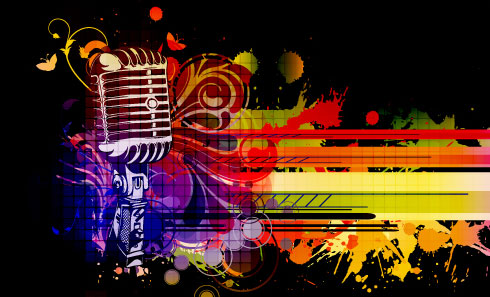Music 038 mike Stylish vector background 03