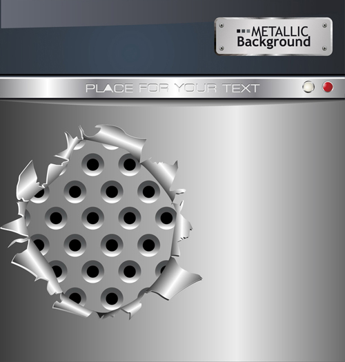 Set of Metal background with hole design vector 02