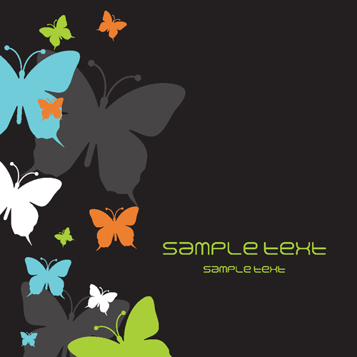 Beautiful Butterfly elements background vector 03