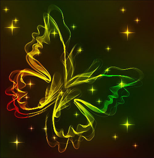 Black Background with Bright butterfly vector graphic 05