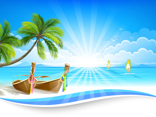 summer sea background art 05 vector
