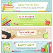 Set of School elements banners vector 02