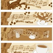 coffee and music elements banner vector