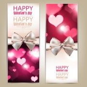 Valentine Day Banners and bow vector 04
