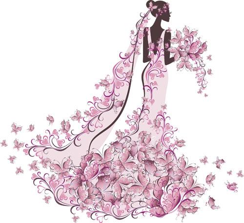 set of romantic wedding vector background 05 free download