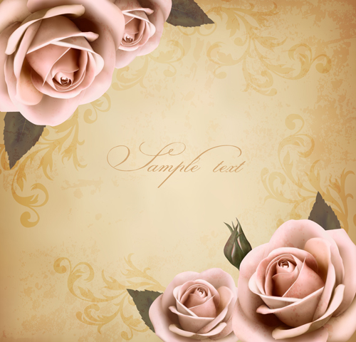 roses and vintage background vector 04