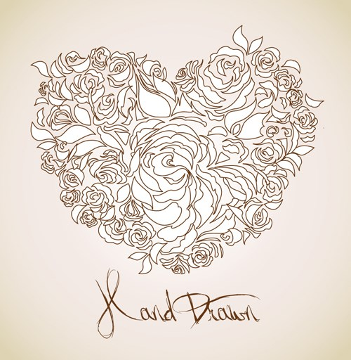 Creative Floral hearts design vector graphics 05