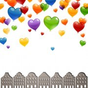 Color Heart balloons vector 06