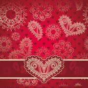 Red style Heart with Valentine Day vector 04