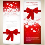 Red style Valentine cards design elements vector 07