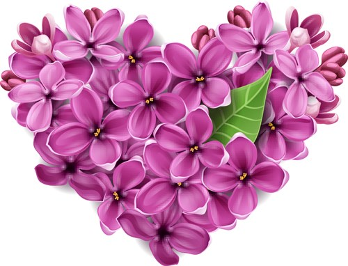 Vector Flowers heart design elements 04