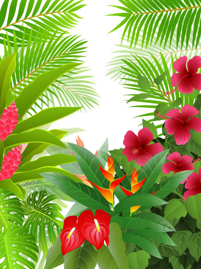 tropical green leaf elements vector background 02