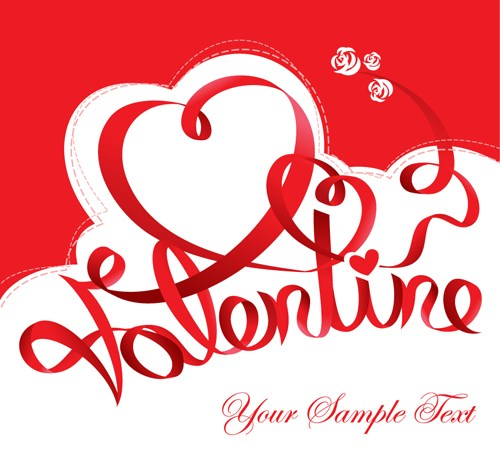 The valentine card design vector graphic 02 free download for Designs for valentine cards