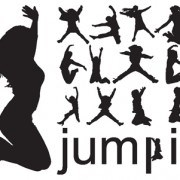 Jumping People Silhouettes vector 01