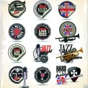 Vintage music sticker vector 01