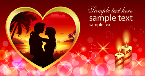 romantic valentine day theme background vector 03