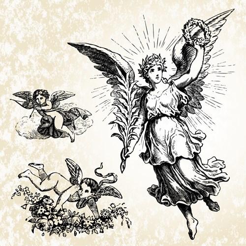 28 Angel Drawings Free Drawings Download: Vintage Angels Statue Vector 04