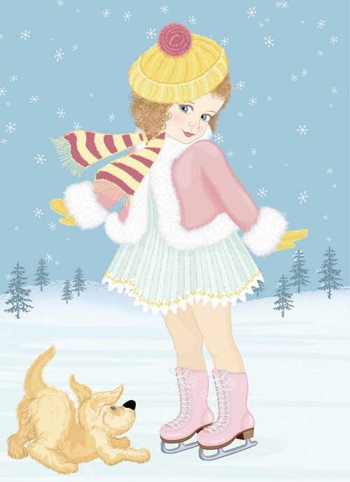 9c1cf7900068 Winter little girl and cute dog design vector 01