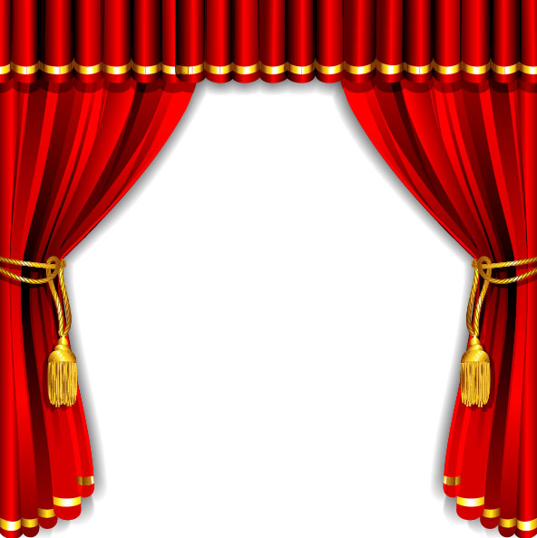 red curtain elements vector background 01