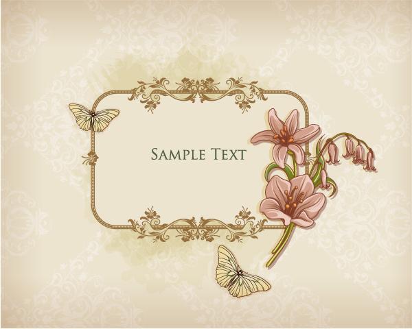 Floral Frames vector backgrounds set 06 | Free download