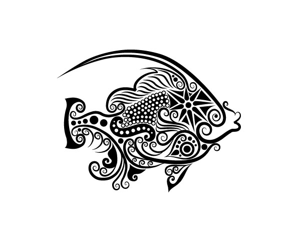 Line Drawings Animals Wildlife : Vivid hand drawn fish decoration pattern vector free