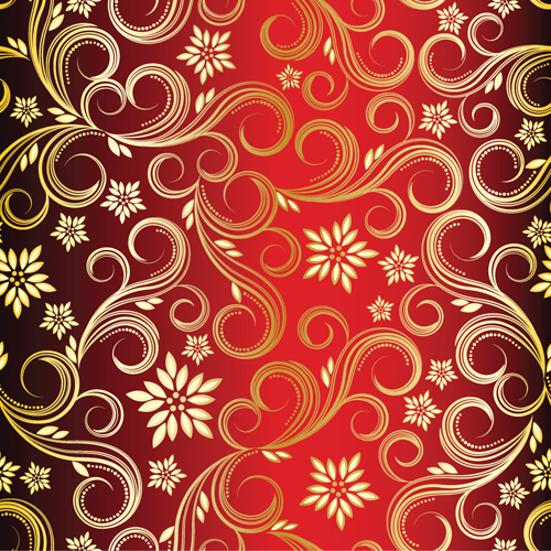 Golden Swirls Floral Pattern Background Design Vector 02 For Free