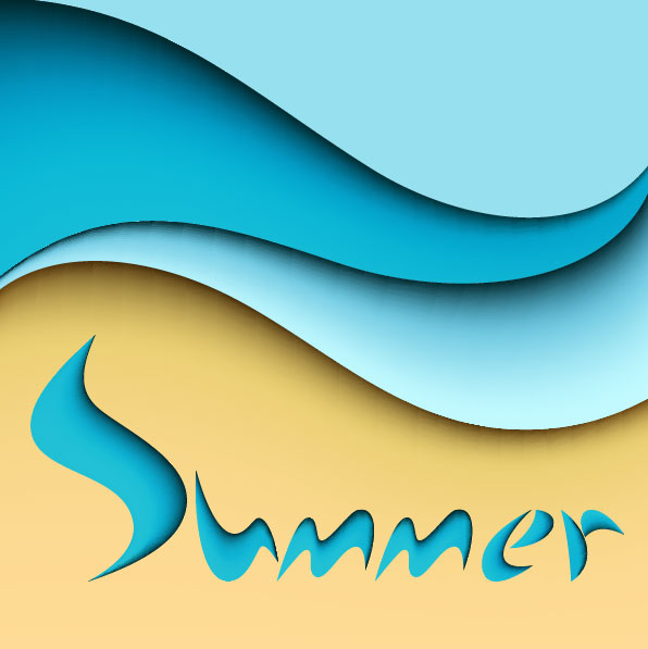 summer and cartoon waves background vector 03