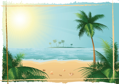 sunny beach design vector background 03