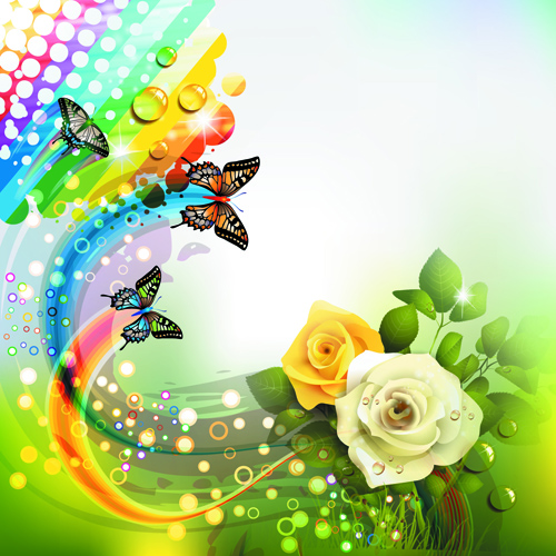 Colorful Flower And Butterfly Background Vector 05