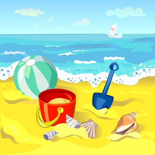 Summer beach travel backgrounds vector 02