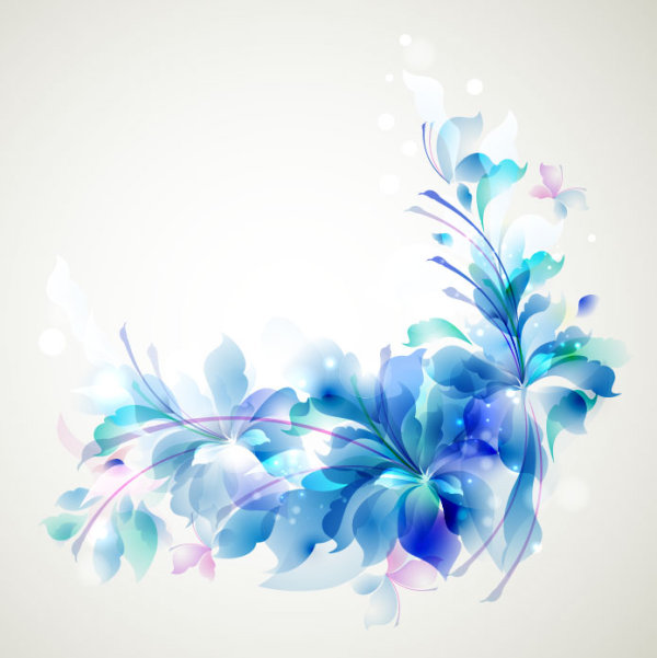 Blue Color Lily Flower Background Vector 03