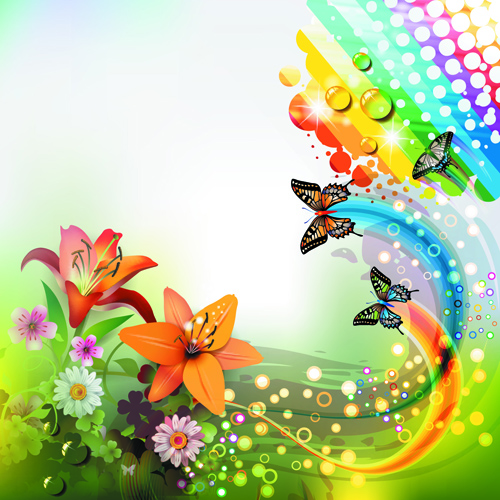 Colorful Flower And Butterfly Background Vector 03