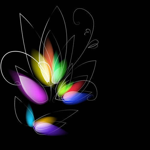 light with Flowers Backgrounds set 05 vector