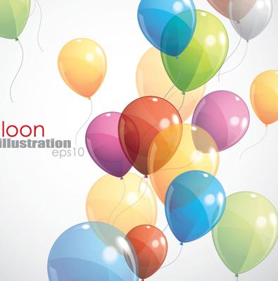 Multicolored balloon background design vector 02