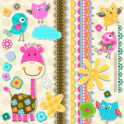 Paper art Baby backgrounds vector 03