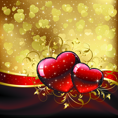 Set of luxurious Valentine Cards Vector 02