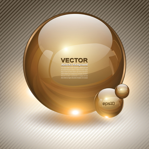 Shiny 3D Glass Sphere vector background 01