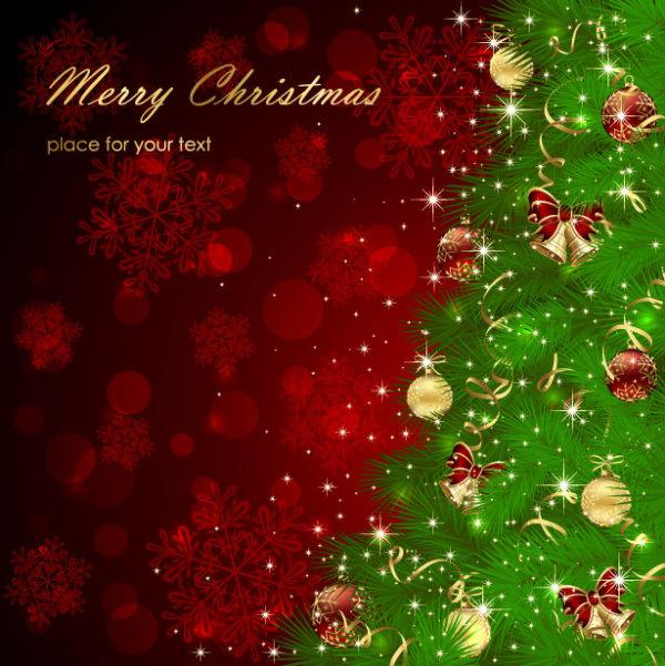 Sparkling Christmas elements vector backgrounds 01