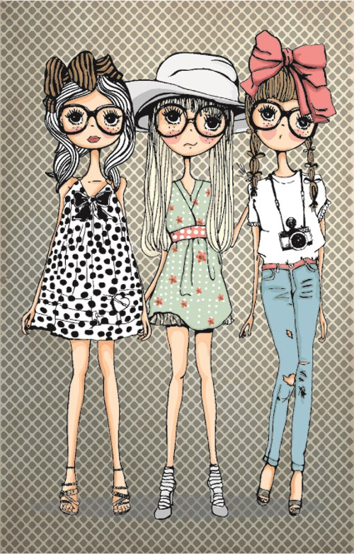 Fashion Girl with camera vector 04