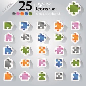 Icons stickers vector 07