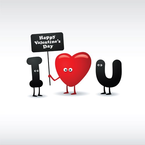 Set of Funny valentine card vector graphics 02