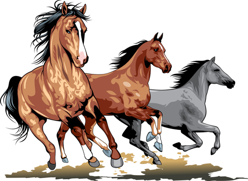 Different Running Horses Vector 05 Free Download